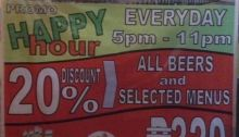 seablings Happy Hour Promo