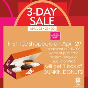 SM 3 day sale free dunkin donuts
