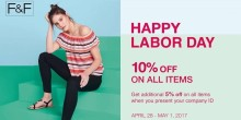 F and F labor Day promo