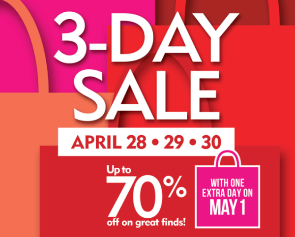 SM 3 day sale April 28 to May 1