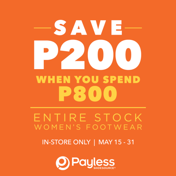 payless ShoeSource Shop women's footwear and get P200 off