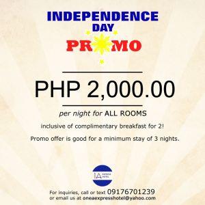 1A Express Hotel Cagayan de Oro independence day promo