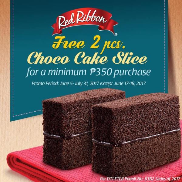 Red Ribbon free Choco Cake Slice