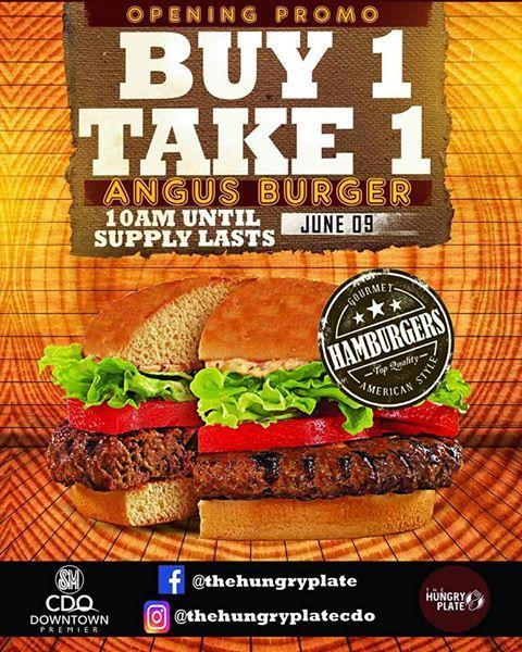 hungry plate buy 1 take 1 Angus Burger