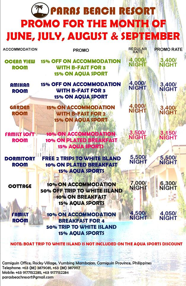 Paras Beach Resort Promos for these months