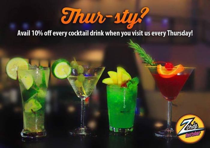 Zords Restobar 10 percent off cocktail drink