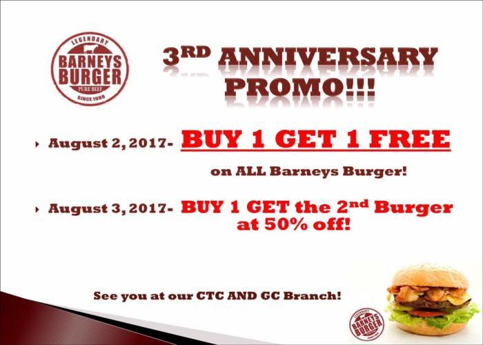 Barney's Burger 3rd Anniversary Promo