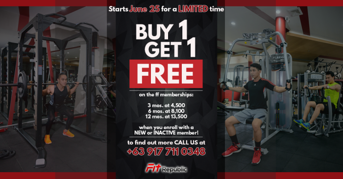 fitRepublic 3rd anniversary buy 1 get 1 detailed