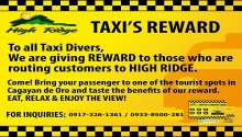 high Ridge rewards to taxi drivers
