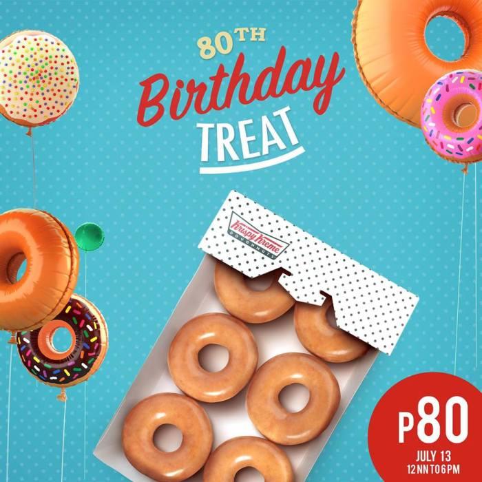 Kirspy Kreme 80th birthday treat orig glazed doughnuts
