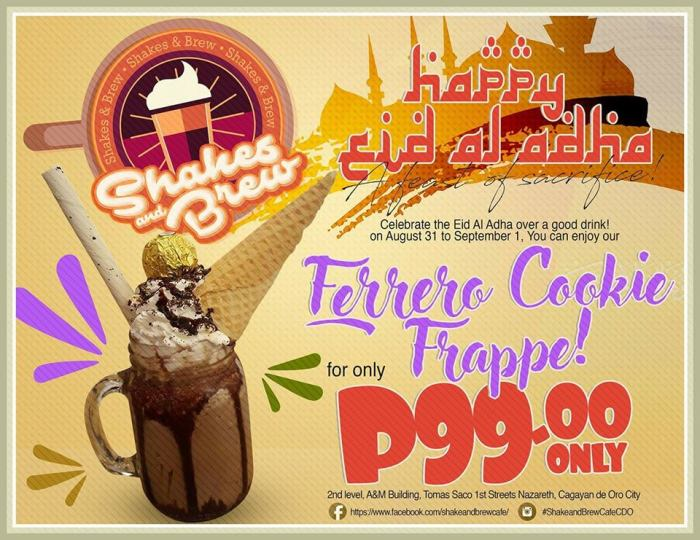 Shake and Brew Cafe Ferrero Cookie Frappe for P99