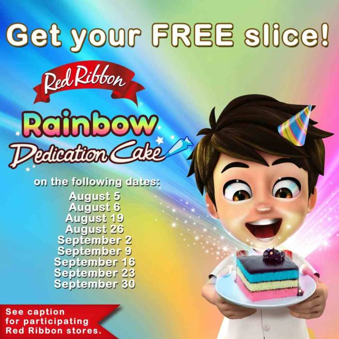 Red Ribbon Free Slice Rainbow Dedication Cake