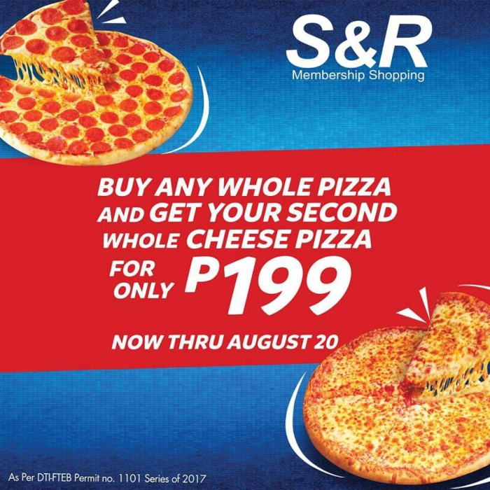 SandR second cheese pizza at P199