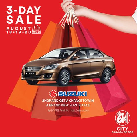 SM 3 days sale Shop and get a chance to WIN a brand new Suzuki Ciaz