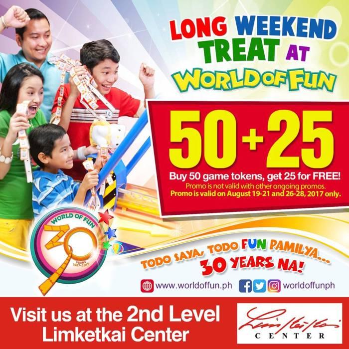 World of Fun 50 plus 25 tokens