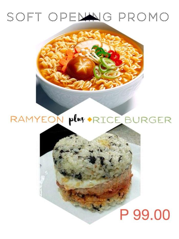 Korean Ramen plus Rice Burger