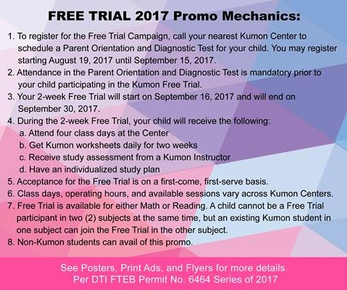 kumon 2 week free trial mechanics