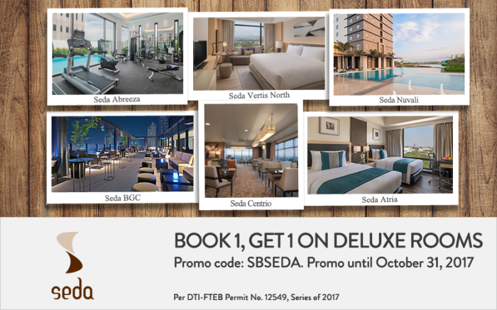 Book 1 and Get 1 on Deluxe Rooms at Seda Hotels