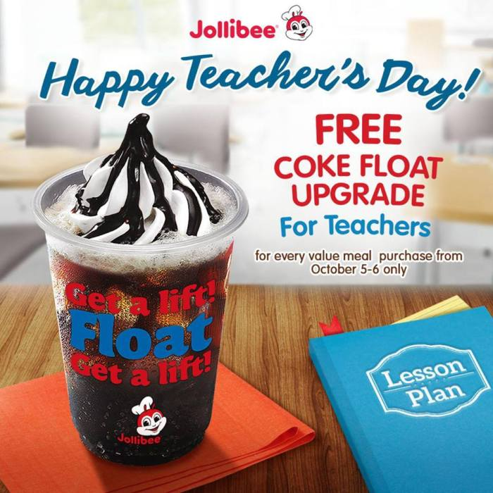 jollibee teachers day free coke float upgrade