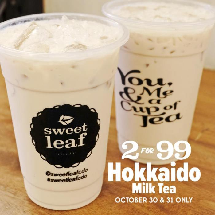 Sweet Leaf Bubble Tea Cafe Hokkaido Milk Tea Promo