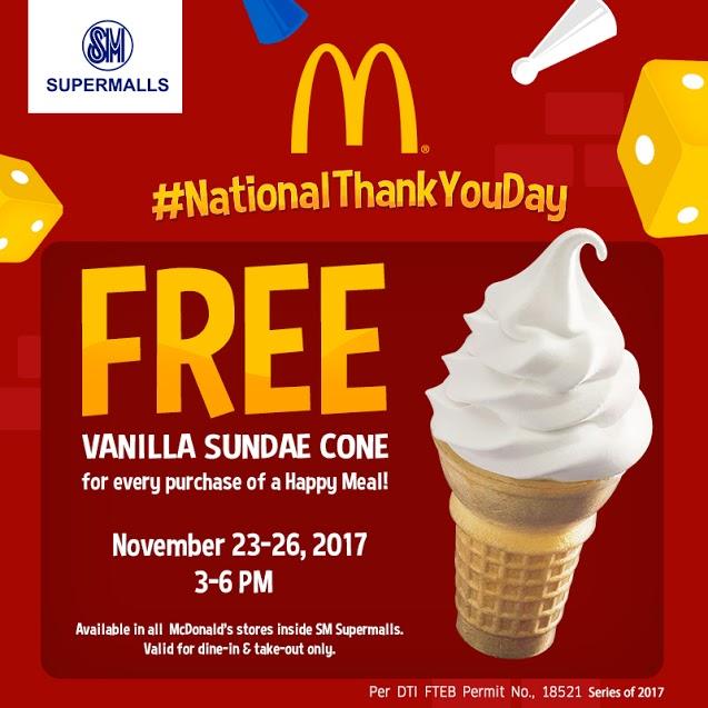 free vanilla sundae at McDonald's