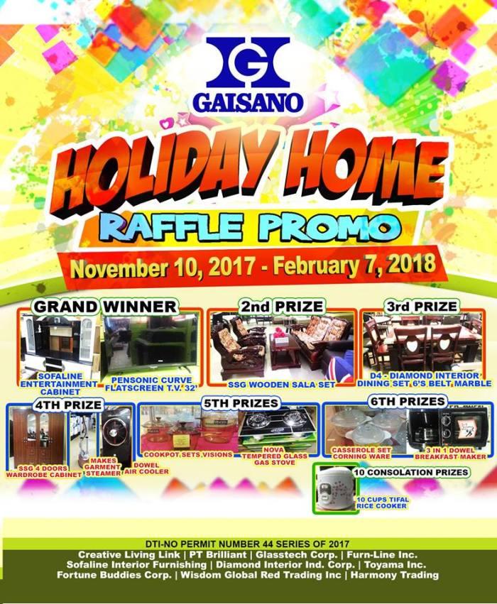 Gaisano holiday Home Raffle Promo