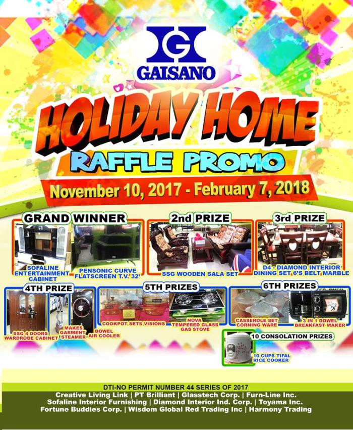 Gaisano holiday Home Raffle Promo