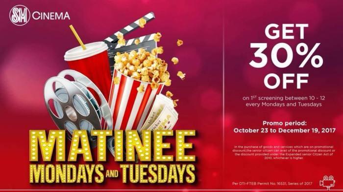 Matinee Mondays and Tuesdays