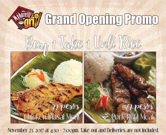 Mykarellis Grill Lifestyle District Grand Opening Promo