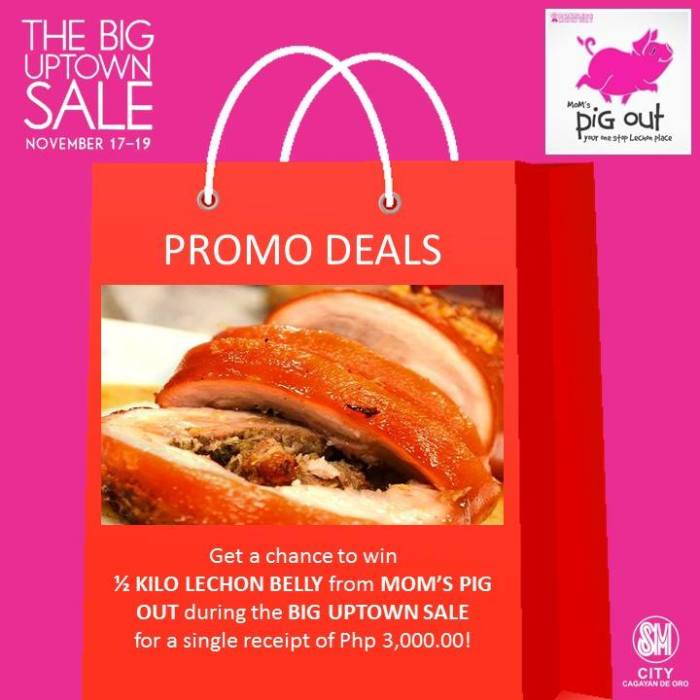 Get a chance to win a free personal size pizza during the Big Uptown Sale for a single receipt of P3,000