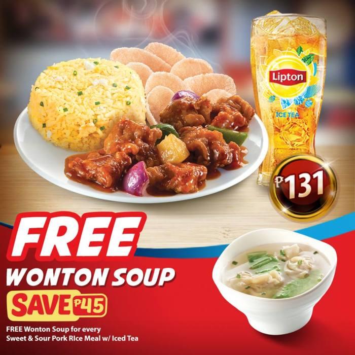 free wonton soup