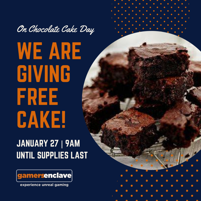 free chocolate cake for gamers