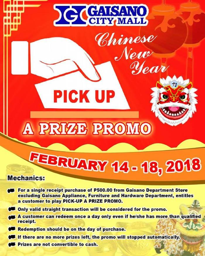 Gaisano City Mall Pick up a Prize Promo