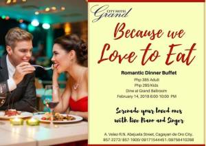 grand city hotel romantic dinner cafe