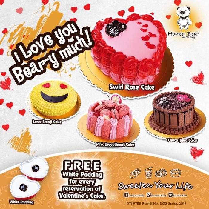 honey bear free pudding for valentines cake reservation