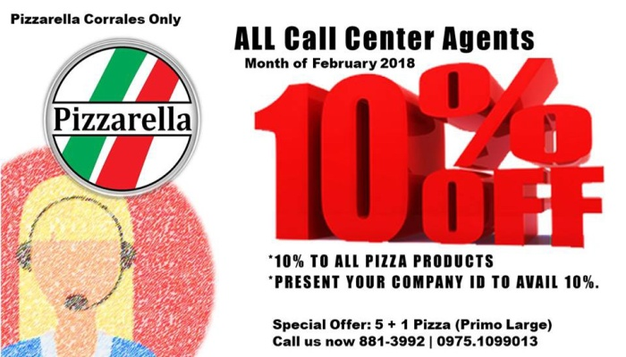 Pizzarella CDO 10percent off to call center agents FI
