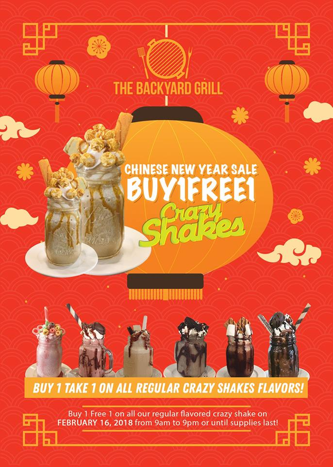 The BackYardGrill buy 1 free 1 Crazy Shakes
