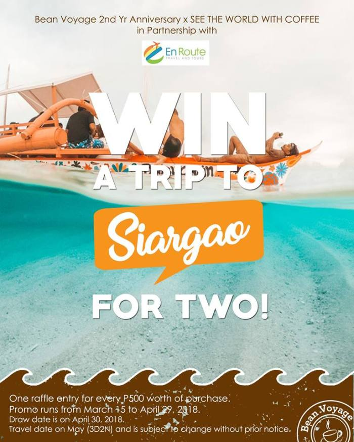 Bean Voyage 2nd Year Anniversary Win a Trip for Two to Siargao Promo