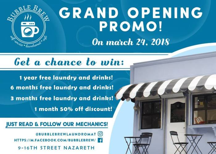 BubbleBrew Laundromat Cafe Opening Promo and Free Load Wash