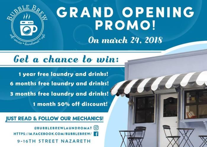 BubbleBrew Laundromat Cafe Opening Promo and Free Load Wash