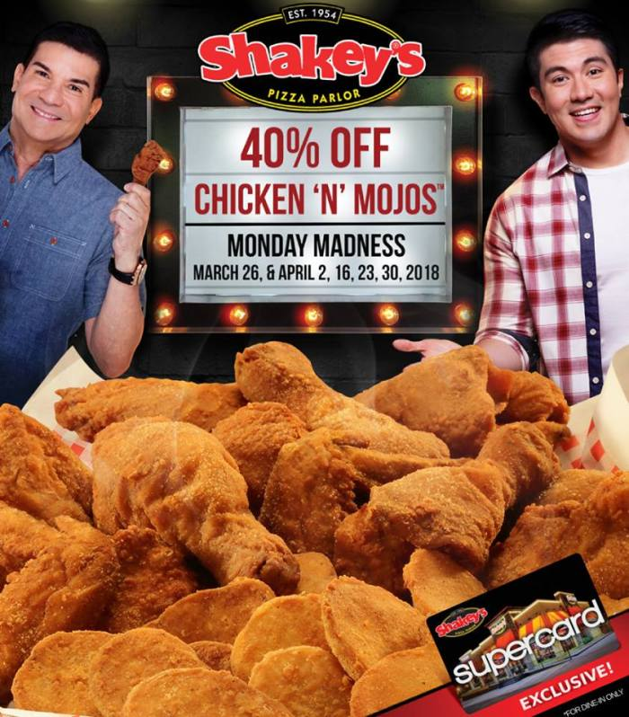 Chicken N Mojos 40 percent off Monday Madness