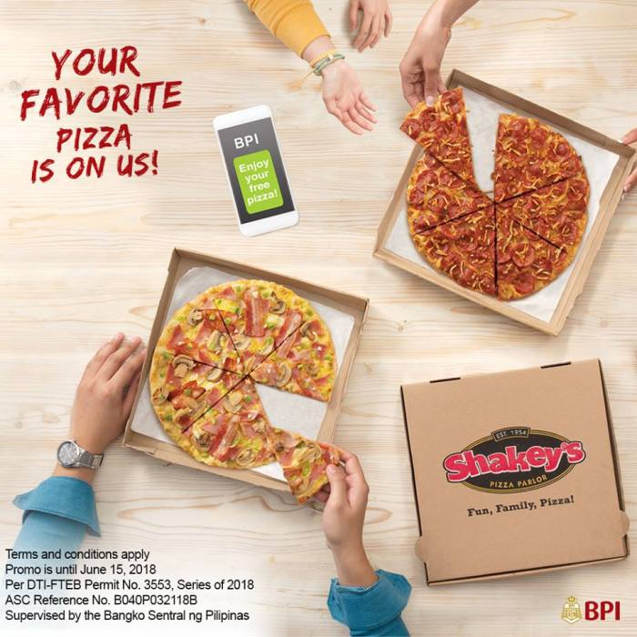 Get a FREE Regular Thin Crust Shakey's Pizza when you use your BPI Credit Card