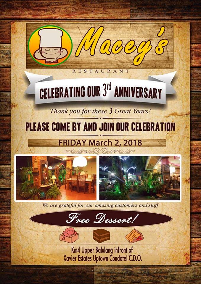 Macey's Restaurant 3rd anniversary