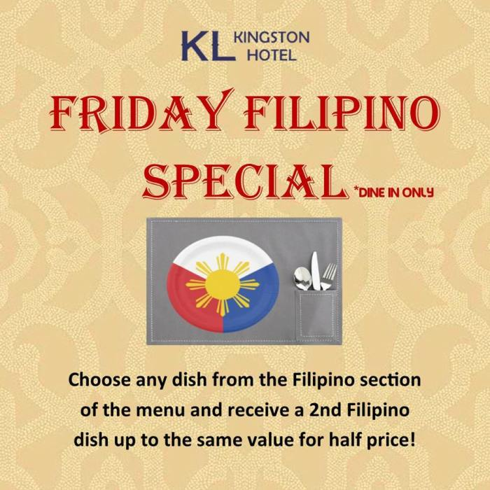 Kingston Lodge Hotel friday filipino special