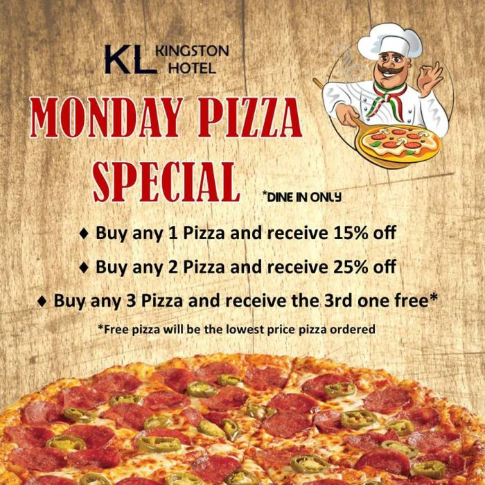 Kingston Lodge Hotel Monday Pizza Special