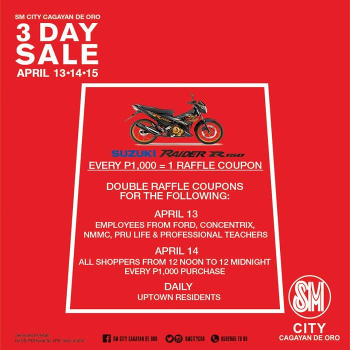 SM City 3 Day Sale raffle couponss