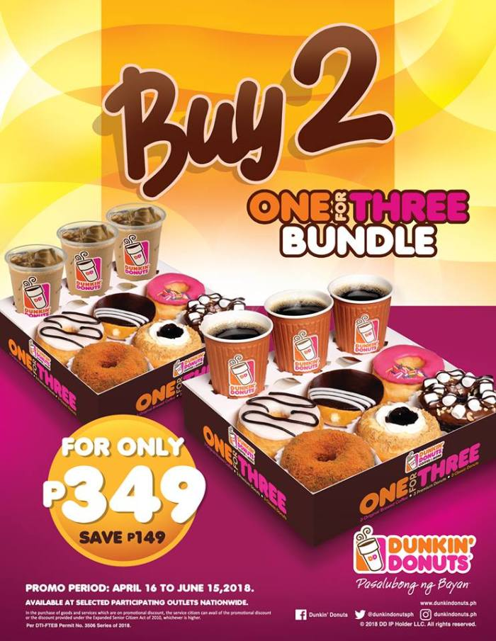 Dunkin Donuts Buy 2 One For Three bundles