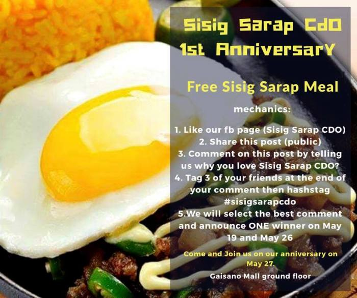 Sisig Sarap CDO 1st Anniversary