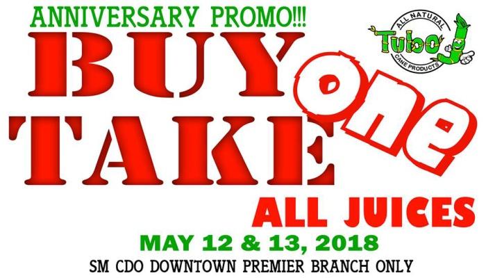 TuboJ Buy 1 Take 1 Anniversary Promo FI