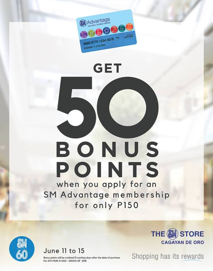 Apply for an SM Advantage Membership and Get 50 Bonus Points